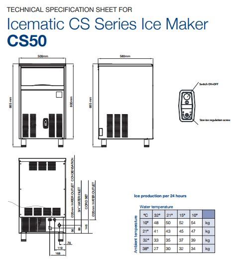 Máy làm đá cho quầy bar - Icematic CS50, máy làm đá icematic, máy làm đá cho quán cafe, máy làm đá công nghiệp, máy làm đá viên, máy làm đá italy, icematic