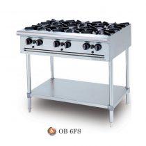 Bếp Âu 6 Họng, OB 6FS, Bếp âu Berjaya, Bếp âu 6 họng cho nhà hàng, Bếp âu 6 họng Berjaya, bếp âu 6 có chân, bếp âu cho nhà hàng, bếp gas họng, bếp gas