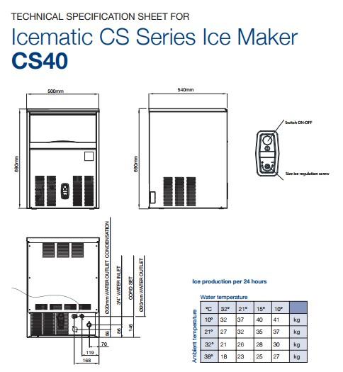 Máy làm đá - Icematic CS40, máy làm đá viên icematic, icematic cs40, máy làm đá công nghiệp, máy làm đá cs40, máy làm đá viên icematic, máy làm đá quầy bar