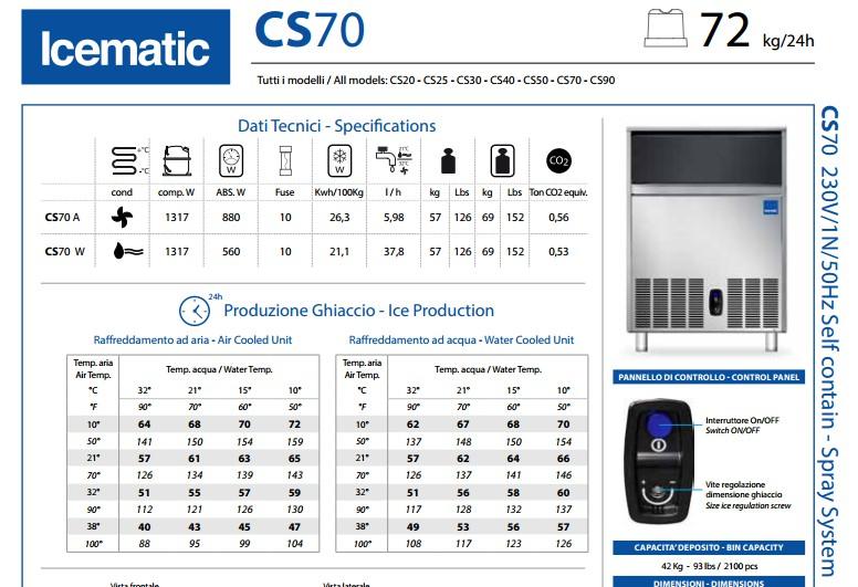 Máy làm đá cho nhà hàng - Icematic CS50, máy làm đá công nghiệp, máy làm đá viên, máy làm đá cho nhà hàng, máy làm đá quán cafe, máy làm đá icematic cs70